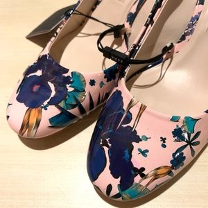 Zara Pink Tropical Floral Faux Patent Heels NWT 8